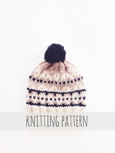 Pompom Winter Ski Fair Isle Patterned Alpine Beanie Cap Hat // Aspen Toboggan PATTERN