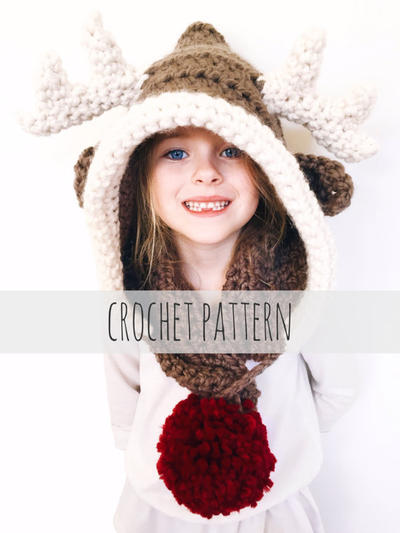 Reindeer Hat Rudolph Hood Cowl Scarf Crochet Toddler Child Adult