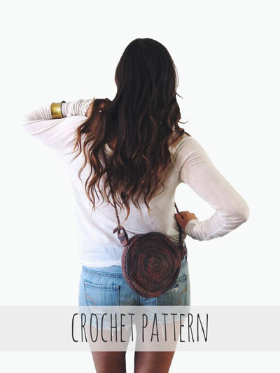 Round Crochet Spiral Purse Boho Circle Bag // Canteen Bag PATTERN