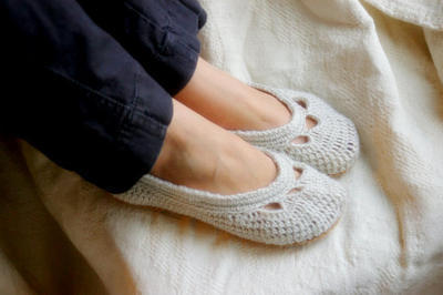 Crochet Shoe Pattern for Yoke Ballet House Slipper