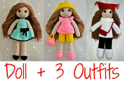 Crochet doll pattern + 3 outfits