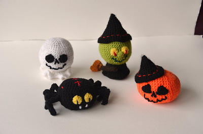 Halloween Crochet Set - Witch, Pumpkin, Ghost, Spider