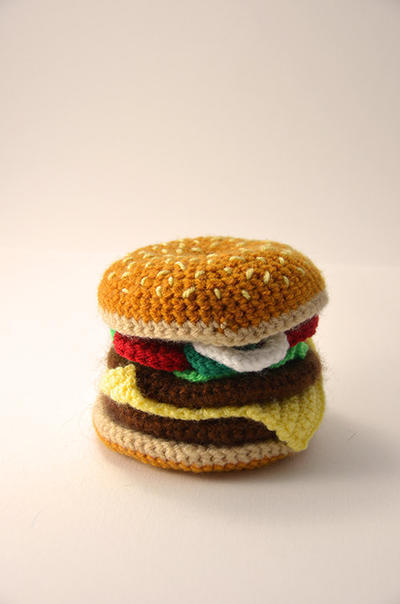 Hamburger - Cheeseburger - Bun - Toy Food - Play Kitchen - Amigurumi