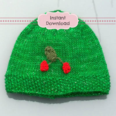 My Little Cherry Baby Beanie Knitting Pattern