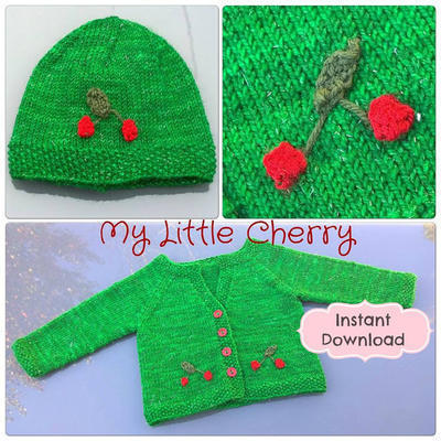 My Little Cherry ebook Baby Cardigan & Beanie Knitting Pattern