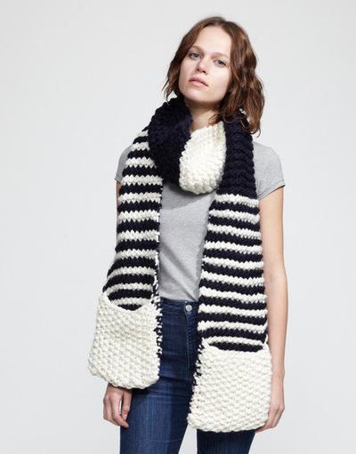 misterpattern - Striped Jolly Pocket Scarf Knitting Pattern