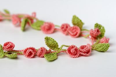 Crochet Pattern Rose Garden Necklace Bracelet